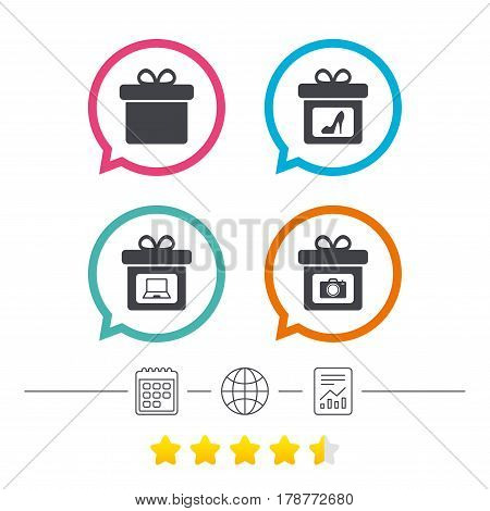 Gift box sign icons. Present with bow symbols. Photo camera sign. Woman shoes. Calendar, internet globe and report linear icons. Star vote ranking. Vector