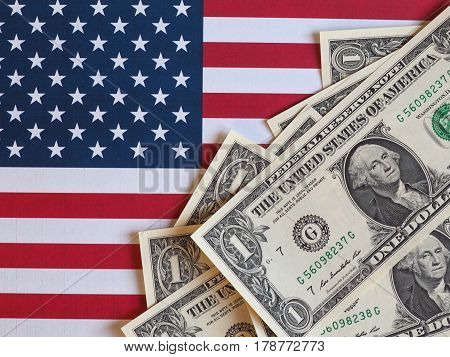 Dollar Notes And Flag Of The United States