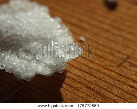 Home made salt crystals extreme close up