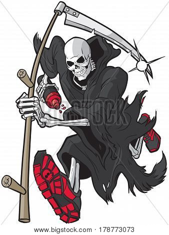 Vector cartoon clip art illustration of a Grim Reaper or Angel of Death running forward toward the viewer with a scythe athletic shoes and a water bottle. Accessories are on separate layer.