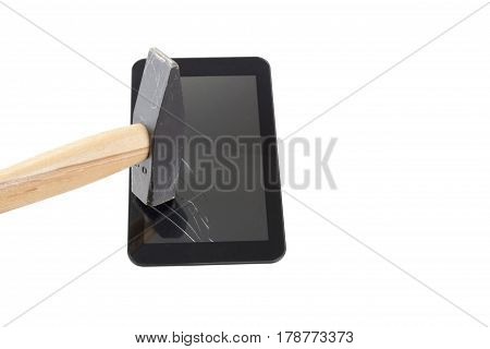 broken glass tabled smashed with hammer isolated on white background