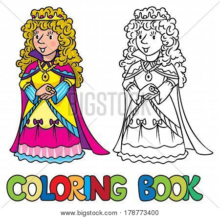 Coloring book or coloring picture of beautiful queen or princess in medieval dress, the crown and the mantle, with long blonde curly hair. Profession series. Childrens vector illustration.