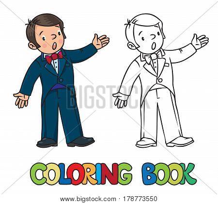 Coloring book of funny singer or vocalist. Profession series. Children vector illustration.
