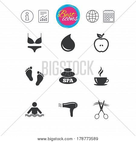 Information, report and calendar signs. Spa, hairdressing icons. Swimming pool sign. Lingerie, scissors and hairdryer symbols. Classic simple flat web icons. Vector