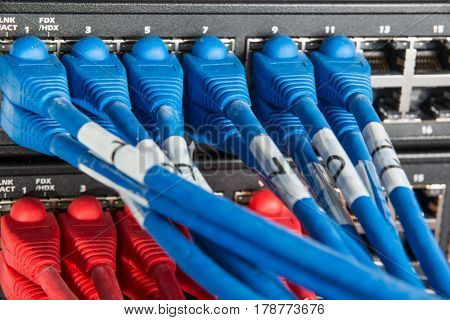 close-up of network hub and ethernet cables