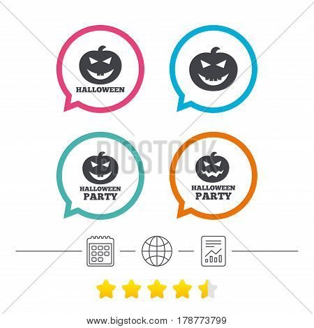 Halloween pumpkin icons. Halloween party sign symbol. All Hallows Day celebration. Calendar, internet globe and report linear icons. Star vote ranking. Vector