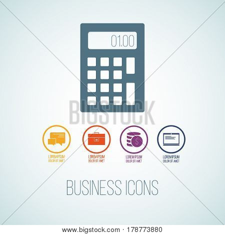 Vector Illustration Of Business Icon In The Form Of Calculator. Flat Additional Symbols For Business