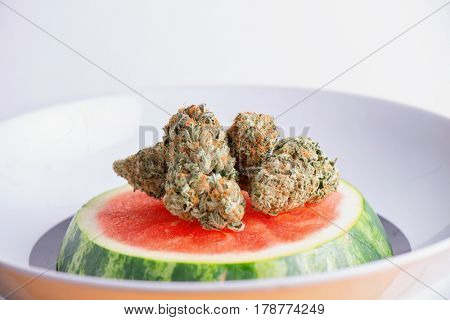 Macro detail of cannabis buds (watermelon marijuana strain) over a water melon slice on a plate