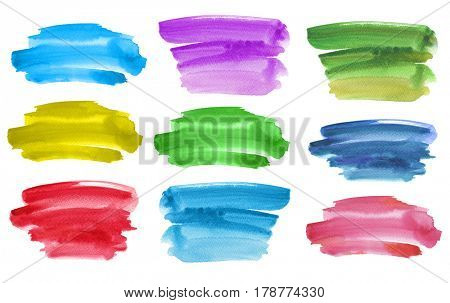 Abstract watercolor brush strokes painted background. Texture paper. Isolated. Collection.