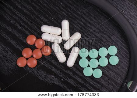 Detail of assorted pharmaceutical pills over black wooden background