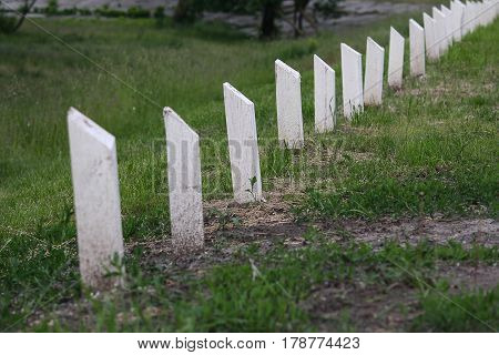 White wooden posts - fencing the village road. Travels