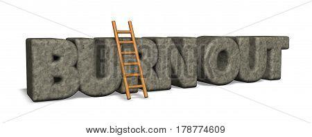 burn out rock and ladder - 3d illustration