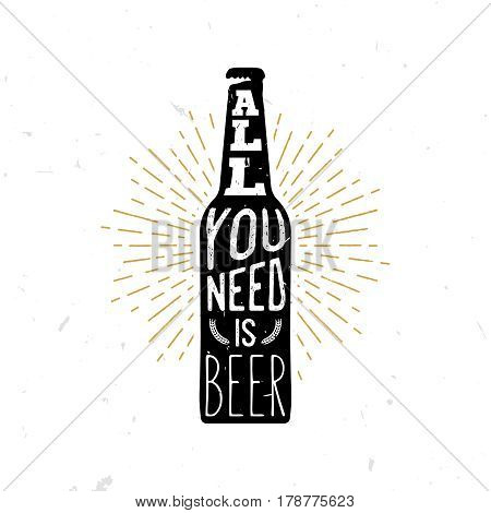 All you need is bear - beer themed quote inside the beer bottle, typography illustration. Vintage retro styled stock illustration