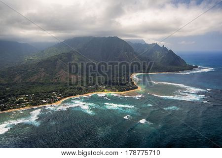 Aerial View of Tunnels Beach and reef, island of Kauai, Hawaii