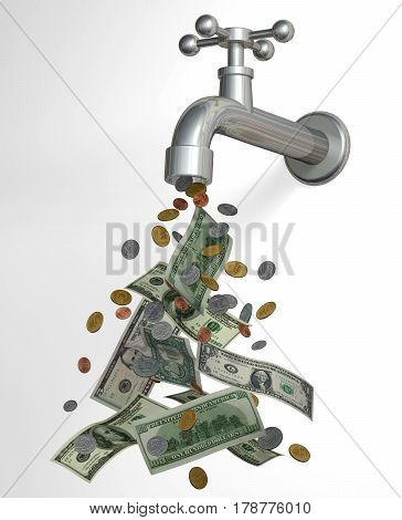 Cash tap 3D currency faucet cash flow dollar coins