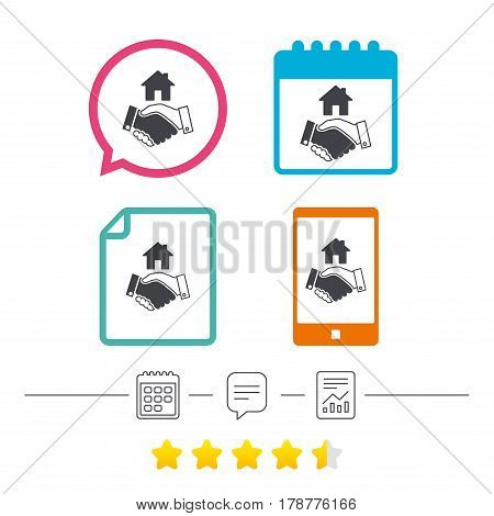 Home handshake sign icon. Successful business with house building symbol. Calendar, chat speech bubble and report linear icons. Star vote ranking. Vector