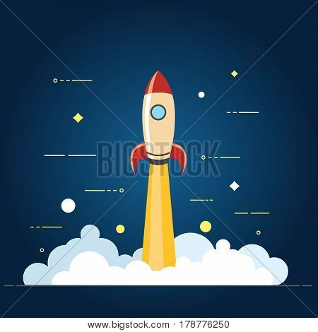 Successful Startup Business Concept. Vector Illustration With Rocket Launch And Laptop On The Backgr