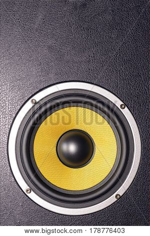 Details of loudspeaker woofer coloured yellow Woofer Loudspeaker Yellow