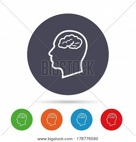 Head with brain sign icon. Male human head think symbol. Round colourful buttons with flat icons. Vector