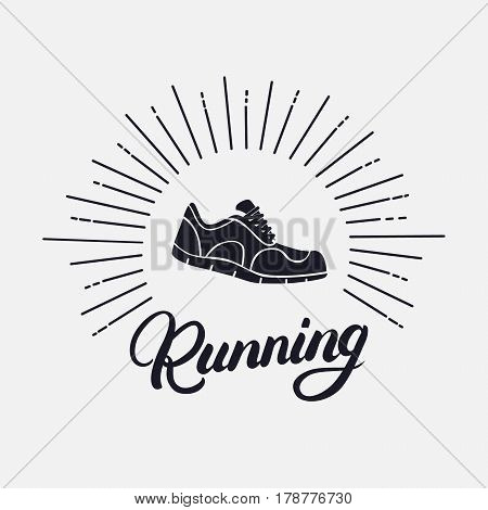 Running hand written lettering with running shoes. Logo, emblem or symbol of marathon. Isolated on background. Vector illustration.