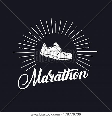 Marathon hand written lettering with running shoes. Logo, emblem or symbol of marathon. Isolated on background. Vector illustration.