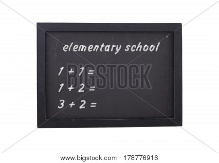 Painted basic schoolwork on a black board