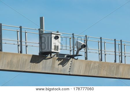 Traffic Radar Used In Speed Enforcement With Automatic Number Pl