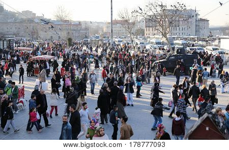 ISTANBUL TURKEY - MARCH 01 2017: People in Eminonu square where is one of the most populer shopping and historic destination in Istanbul.