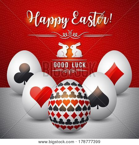 Easter greetings card with red and black symbols over white eggs vector illustration. Decorative composition suitable for invitations greeting cards flyers banners.