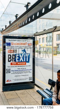 OXFORD UNITED KINGDOM - JUL 7 2016: Undecided Brexit the movie -to choose or not Brexit - advertising poster in the bus station of the Oxford city