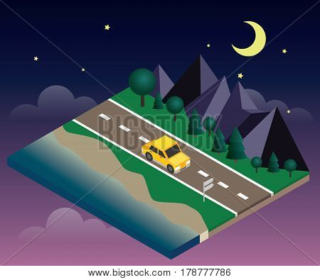 Vector isometric icon representing traveling car on the road near the beach and forest