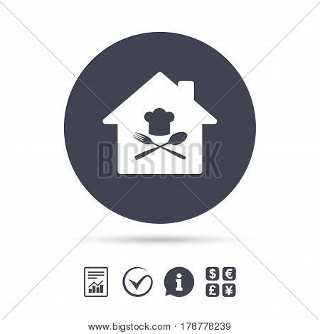 Restaurant icon. Chef hat sign. Cooking symbol. Cooks hat with fork and spoon. Report document, information and check tick icons. Currency exchange. Vector