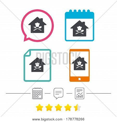 Restaurant icon. Chef hat sign. Cooking symbol. Cooks hat with fork and spoon. Calendar, chat speech bubble and report linear icons. Star vote ranking. Vector