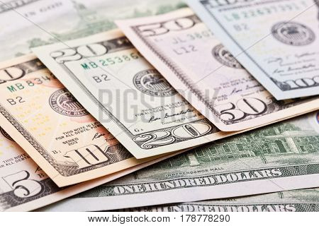 Close up view of colorful dollar banknote. Studio shot