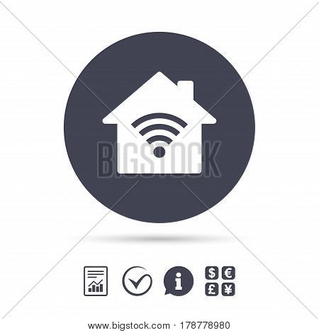 Home Wifi sign. Wi-fi symbol. Wireless Network icon. Wifi zone. Report document, information and check tick icons. Currency exchange. Vector