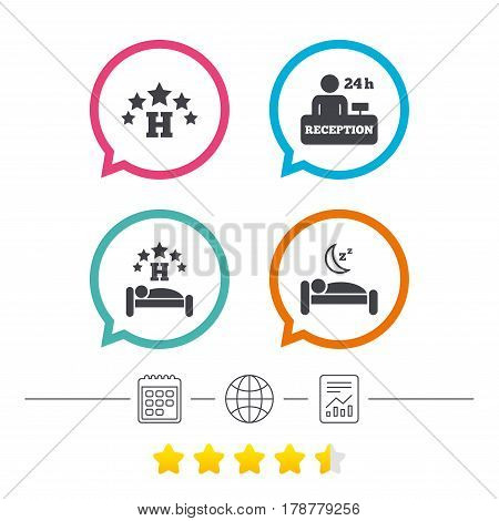 Five stars hotel icons. Travel rest place symbols. Human sleep in bed sign. Hotel 24 hours registration or reception. Calendar, internet globe and report linear icons. Star vote ranking. Vector