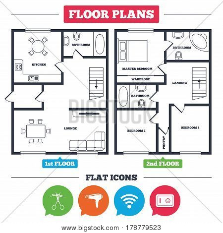 Architecture plan with furniture. House floor plan. Hotel services icons. Wi-fi, Hairdryer and deposit lock in room signs. Wireless Network. Hairdresser or barbershop symbol. Vector