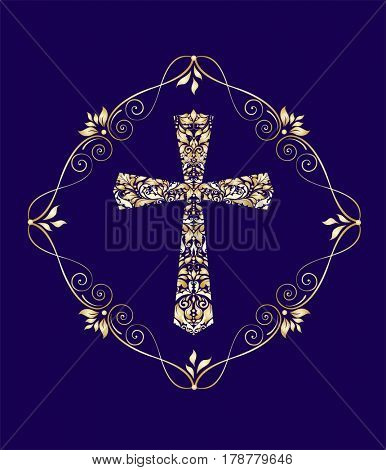 Vintage card with gold floral cross
