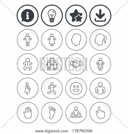 Information, light bulb and download signs. Human icons. Male and female symbols. Infant toddler and pregnant woman. Happy smile face. Success deal handshake. Best quality star symbol. Flat buttons