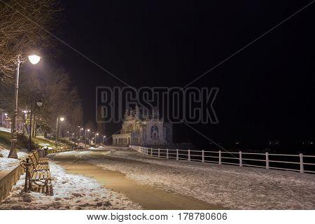 Old Casino In Constanta, Romania, On The Promenade Of The Black Sea Coast In A Winter Morning.