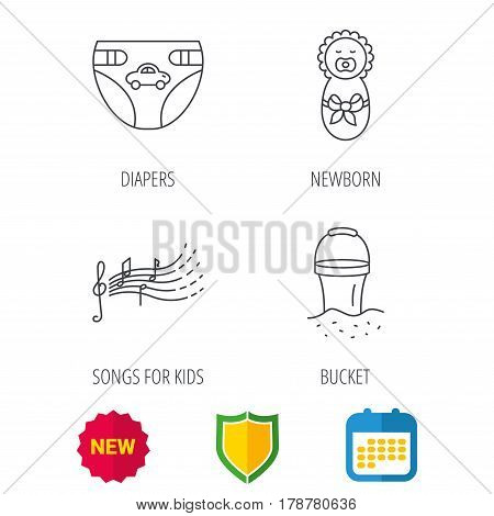 Diapers, newborn baby and songs for kids icons. Beach bucket linear sign. Shield protection, calendar and new tag web icons. Vector
