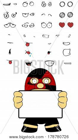 singboard mexican wrestler cartoon expressions set in vectro format very easy to edit