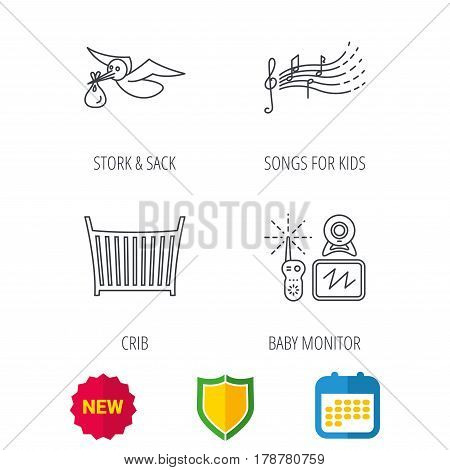 Baby monitor, crib bed and songs for kids icons. Stork and sack linear sign. Shield protection, calendar and new tag web icons. Vector