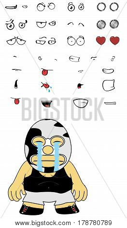 crying mexican wrestler cartoon expressions set in vectro format very easy to edit