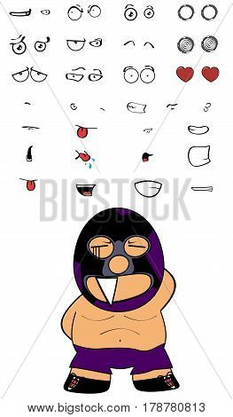 funny mexican combatant cartoon expressions set in vectro format very easy to edit