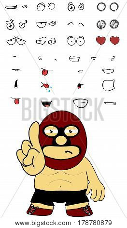 funny mexican wrestler cartoon expressions set in vectro format very easy to edit