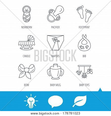 Pacifier, newborn and baby toys icons. Footprint, diapers and cradle bed linear signs. Mug, dirty bib flat line icons. Light bulb, speech bubble and leaf web icons. Vector
