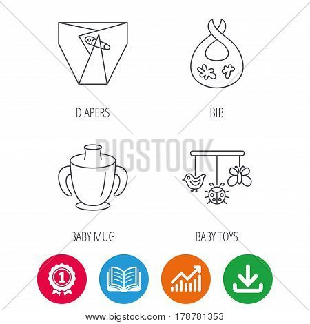 Diapers, child mug and baby toys icons. Dirty bib linear sign. Award medal, growth chart and opened book web icons. Download arrow. Vector