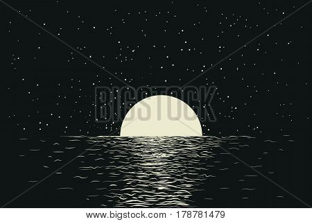 seascape with full moon at the night sea.Romantic vector illustration