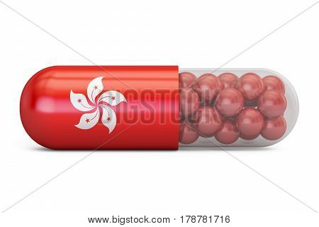 Pill capsule with Hong Kong flag. German health care concept 3D rendering
